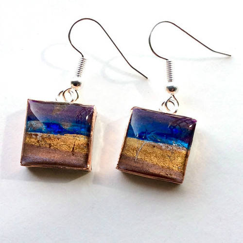 Papier Mache and Resin Earrings from Etsy Shop HilaryBravo