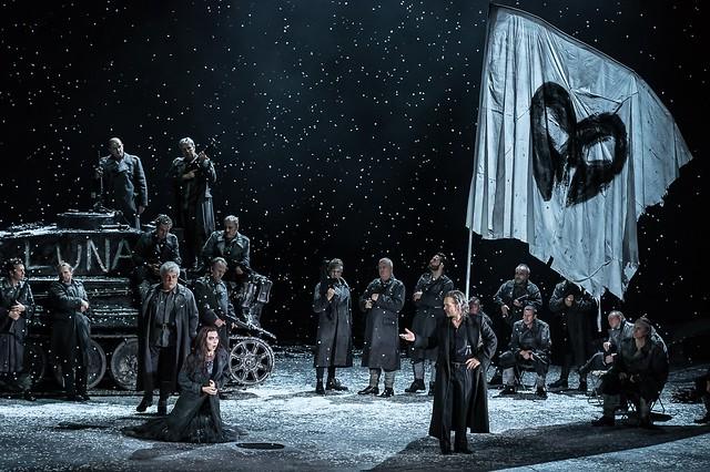 Maurizio Muraro as Ferrando, Marina Prudenskaya as Azucena and Christopher Maltman as Count di Luna in Il trovatore, The Royal Opera © 2016 ROH. Photograph by Clive Barda