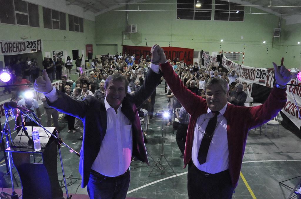 Carlos Lorenzo y Donato Laurita, ayer en el lanzamiento en Madryn.