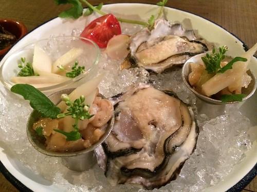 生牡蠣&平貝のマリネ@サーモンアンドトラウト