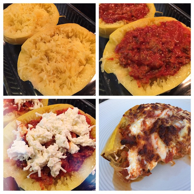 #widn tagged by @thepreppystrawberry - tonight for dinner I decided to try something new!! I got a spaghetti squash at the store and baked it, shredded it with a fork and it really turns into 'spaghetti'... Then added a homemade spaghetti sauce with sausa