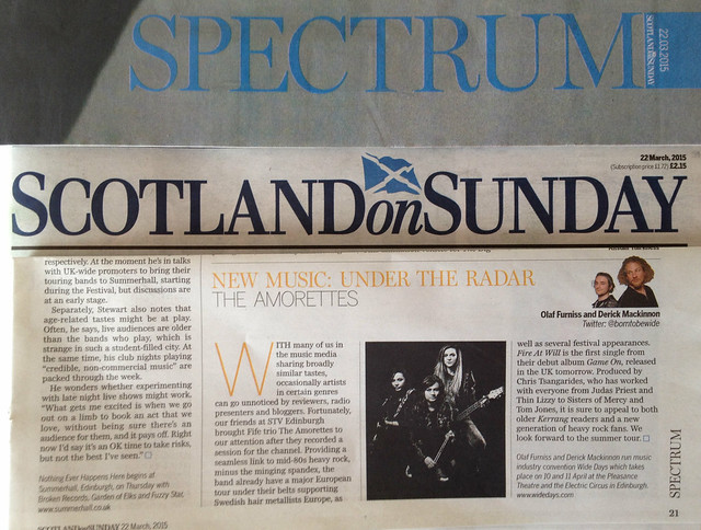 Olaf Furniss and Derick Mackinnon Scotland On Sunday, Spectrum Magazine 22 March 2015, The Amorettes