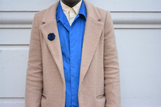 camel coat blue jacket