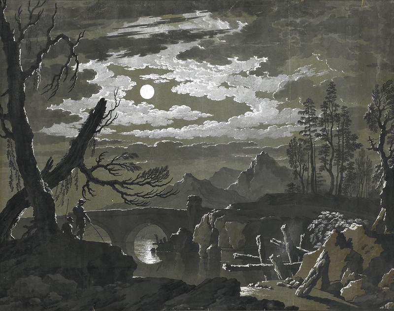 Pietro Giacomo Palmieri - A Moonlit Landscape with Fishermen