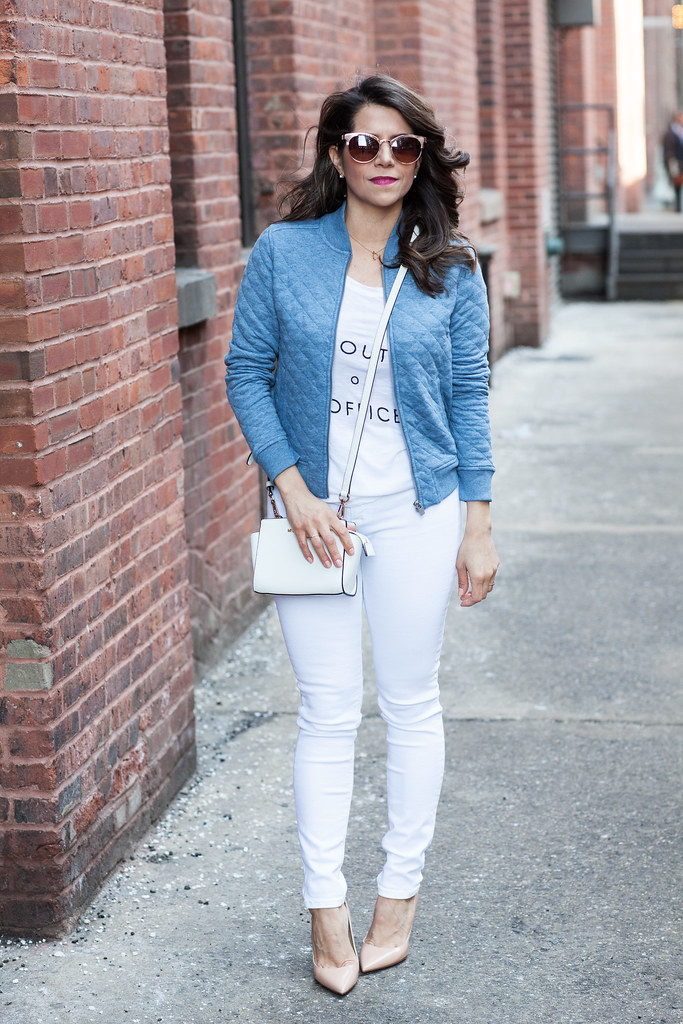white outfits spring looks nyc fashion blogger casual outfit with white jeans denim michael kors zara banana republic tee hudson jeans gap bomber jacket any taylor loft sunglasses professional blogger casual outfit