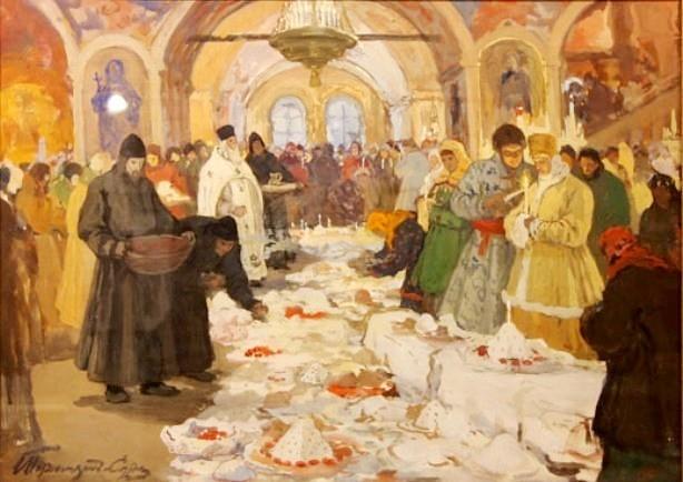 Voskr_goryushkin-sorokopudov_obryad_osvyascheniya_kulichei_1910