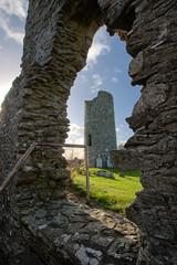 Oughterard Round Tower in ruin window