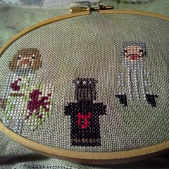 Working on the Montu Python snd tbe Holy Grail character cross stitch. Fun stitch!