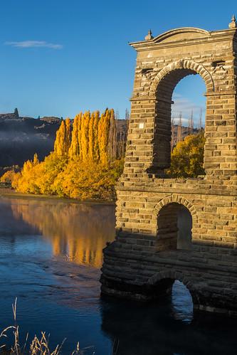 bridge autumn abandoned sunrise river