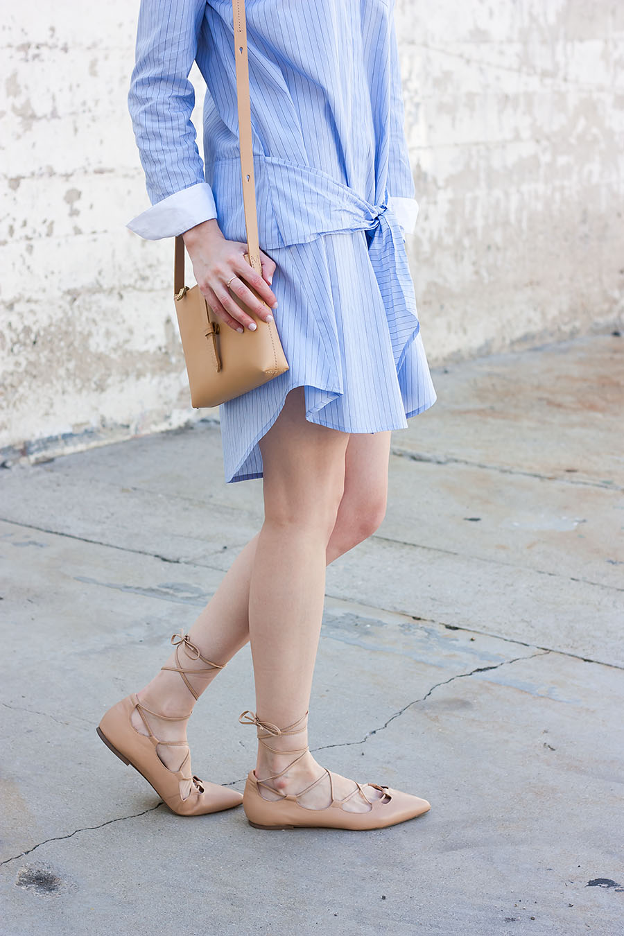 Vince Shirtdress, J.Crew Crossbody Bag, Nude Flats, Striped Dress