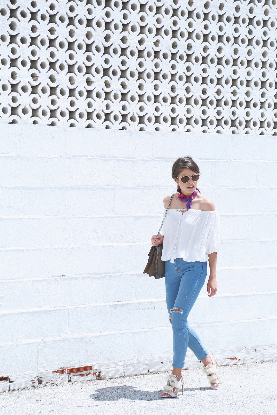 jessie chanes seams for a desire white off shoulder top high waisted jeans gucci bag uterque-11