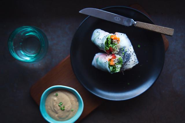 Vietnamese Summer Rolls w Miso Ginger Tahini Dip | Cashew Kitchen