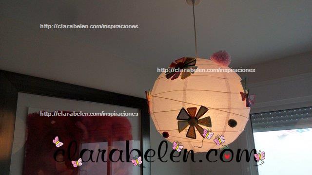 Flor y mariposa de pajitas o canutillos para decorar lamparas