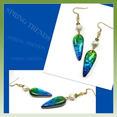 polymer clay freshwater Pearl & Czech Crystal Earrings