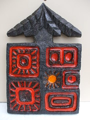 Huge 1960's Mid Century Modern Studio Pottery Wall Plaque Unknown Maker...Possibly West German ?