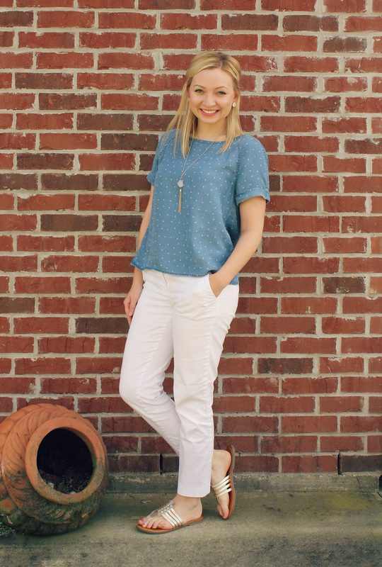 chambray blouse + white pants