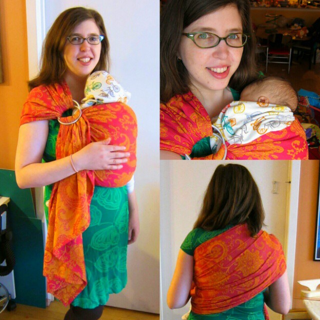 Better photos of my DIY tablecloth ring sling, with actual baby. #SHBsewalong #babywearing #babyDWood #isew #tcrs