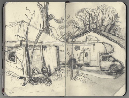 sketch backalley urbanlandscape cedarfallsiowa 5bpencil pocketsizemoleskine marciamilnerbrage