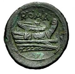 Roman coin with ship