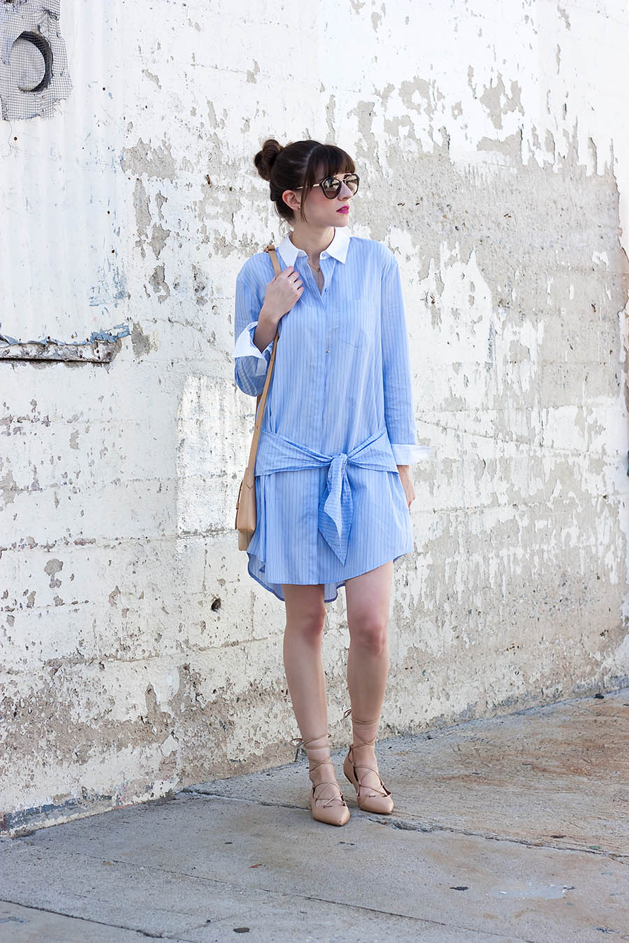 Tie Waist Shirtdress, Nude Lace Up Flats, Striped Shirtdress