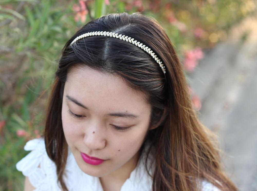 Bite beauty lipstick and gold leaf headband