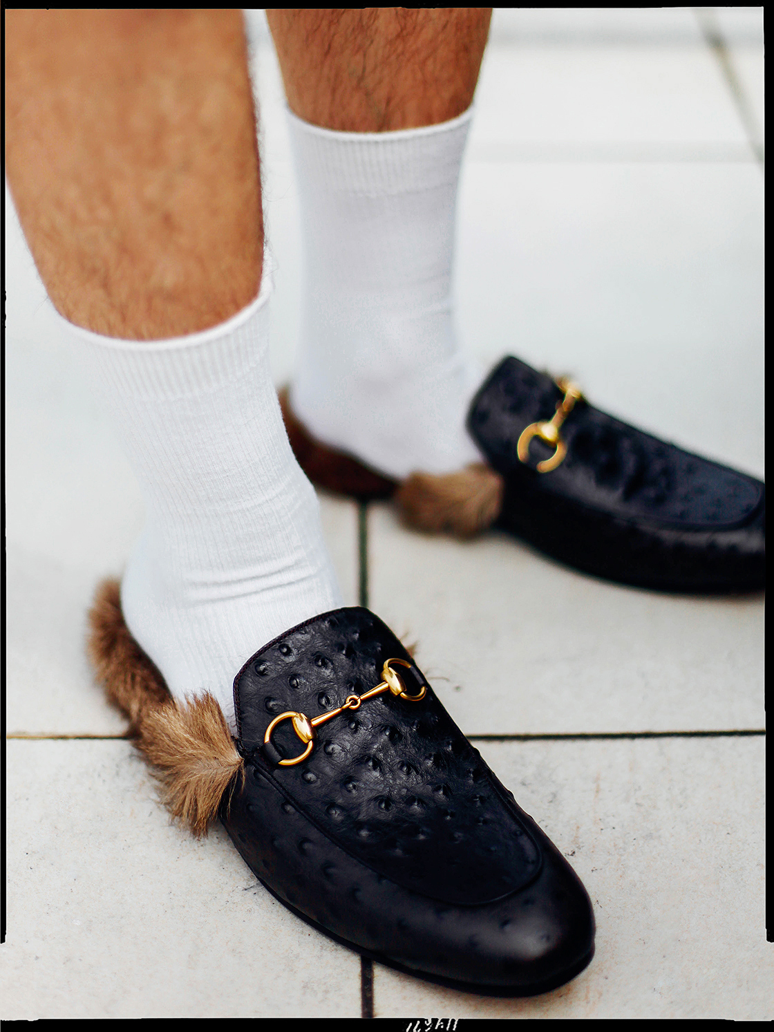 gucci ostrich slippers