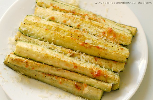 healthy zucchini recipes -- photo of Parmesan Baked Zucchini Spears from Raising Generation Nourished