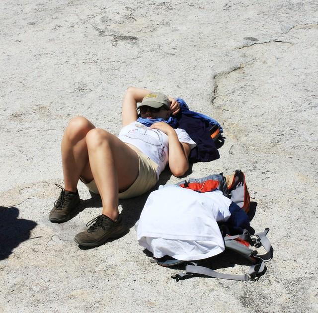 Jenni feeling ill on Half Dome