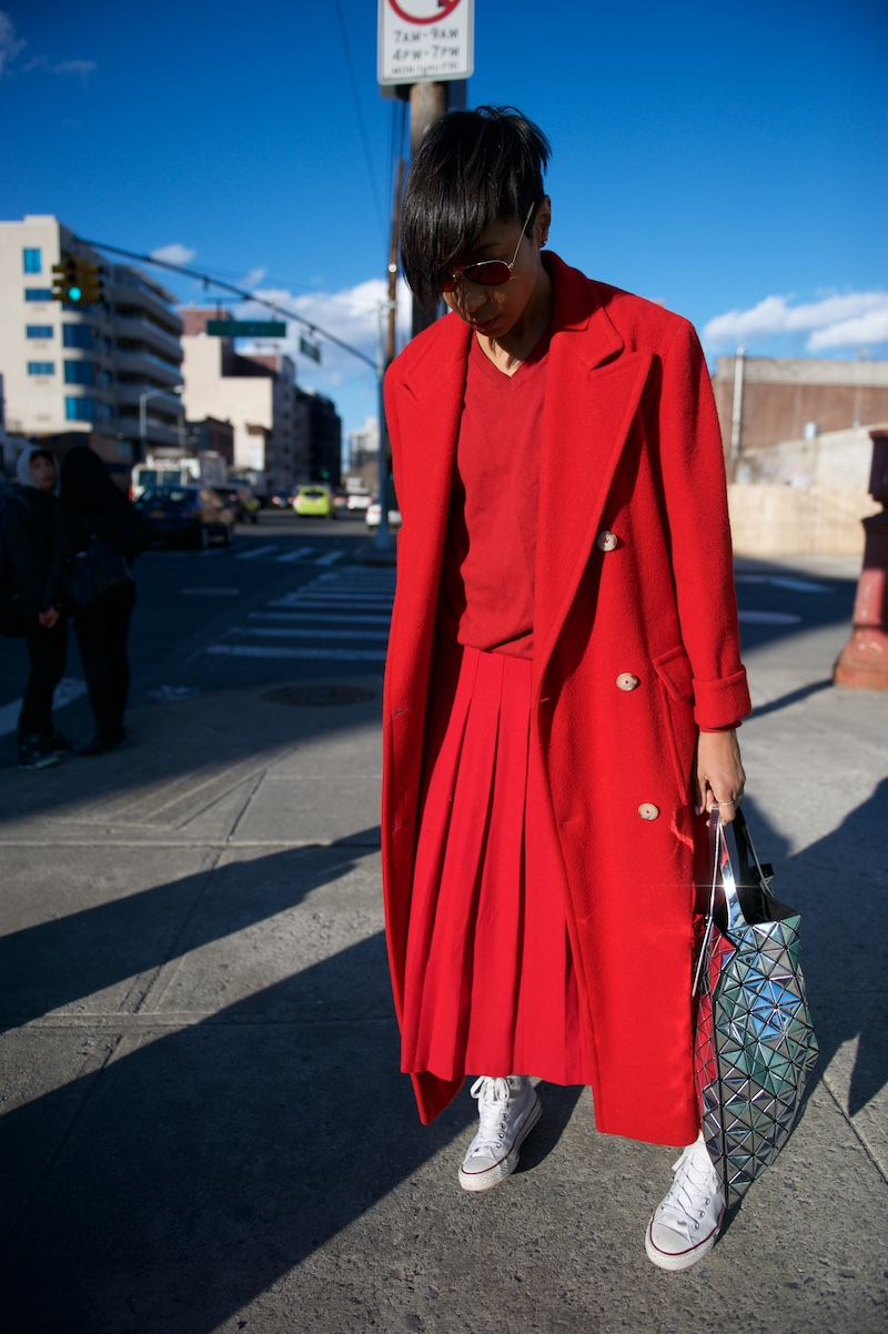 oversized red coat