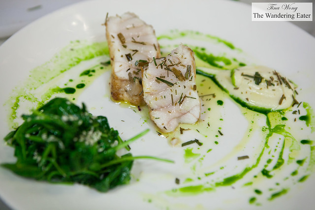 Seared monkfish, wilted spinach with sesame seeds, cauliflower puree with crumbled dried leek tops