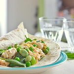 Tahini Chicken Salad with Beans and Peas