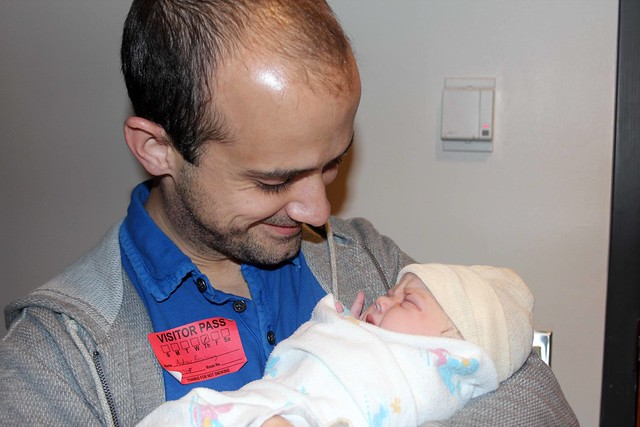 Daddy holding Finn for the first time