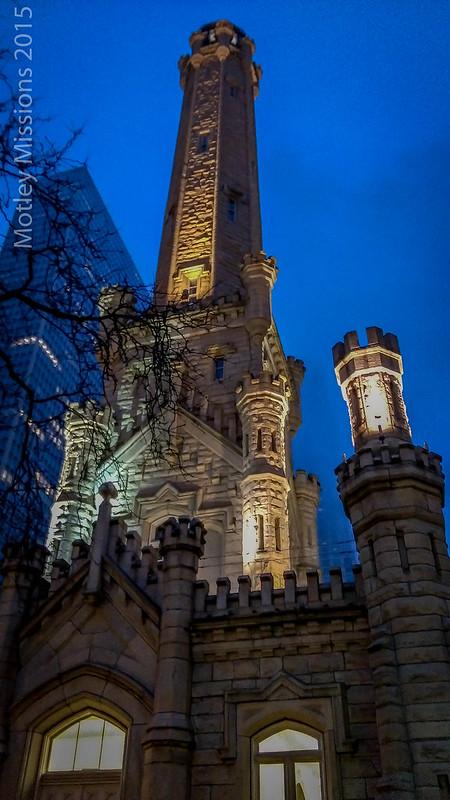water tower night