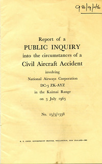 Public Enquiry into the Circumstances of a Civil Aircraft Accident - Kaimai Range - 3 July 1963