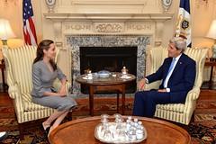 Secretary Kerry Meets with UNHCR Special Envoy Jolie Pitt
