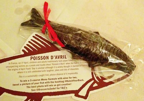 I was invited to dinner for Poisson d'Avril at Brasserie Zedel.