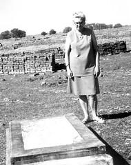 Irene Weaver at C. D. Esch grave, Dhamtari, India, 1973