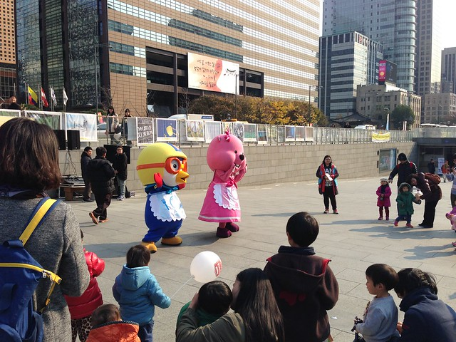 Fun on the plaza with Pororo and friends.