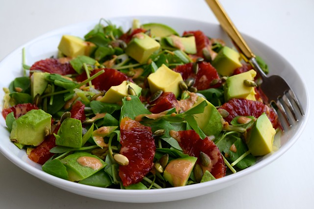 Avocado, Blush Orange & Pea Shoot Salad with Miso Yogurt Dressing