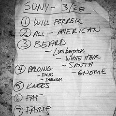 Set list from @standupny show on 3/28. Video coming soon... #comedy #fat #farts #beard