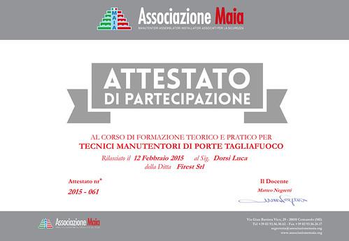 Luca Dorsi - Attestato di Tecnico Manutentore Porte Tagliafuoco