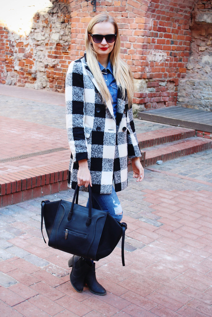 plaid shirt smile bag
