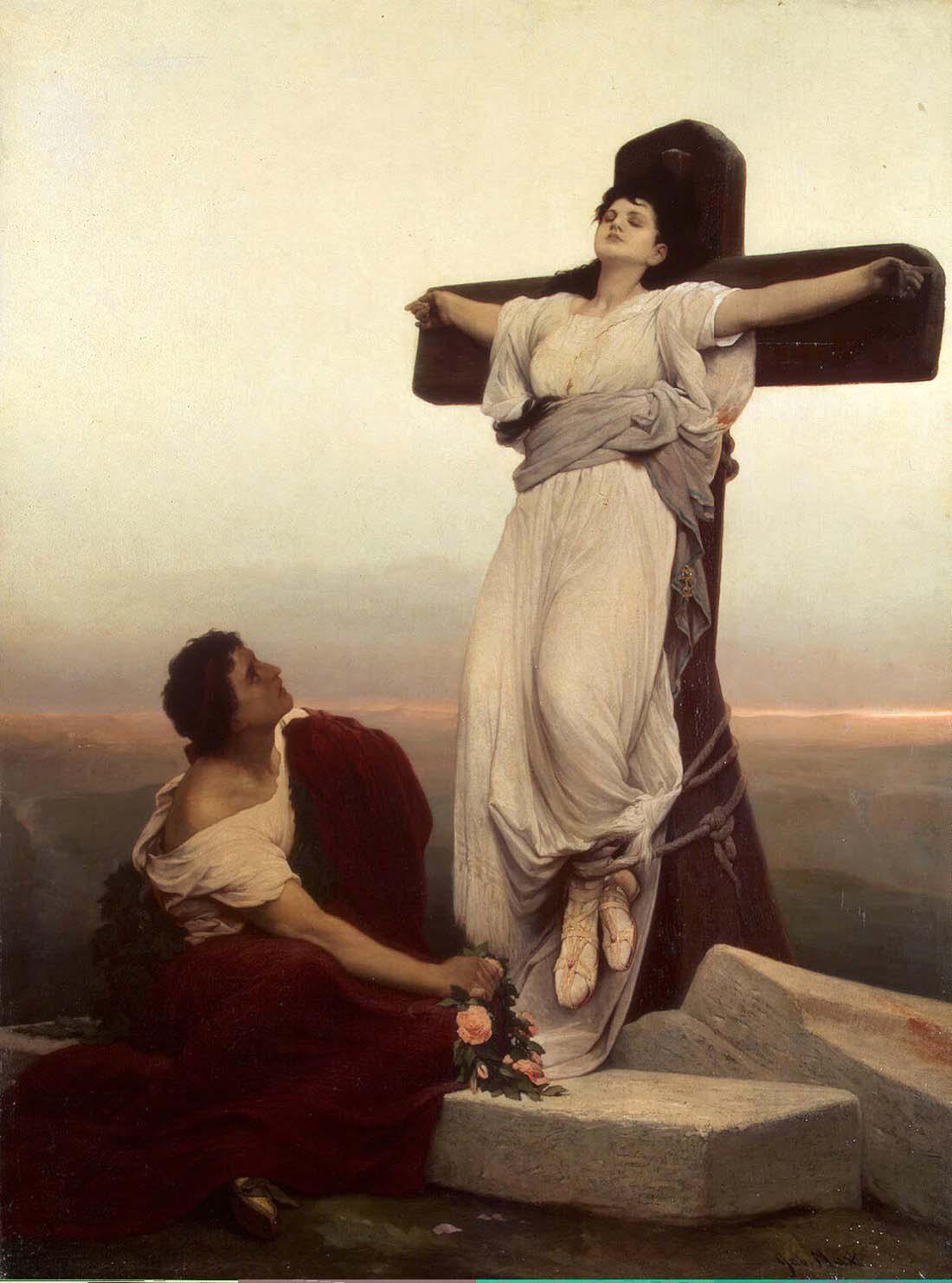 Gabriel von Max, Kreuzigung der Julia von Korsika, 1866