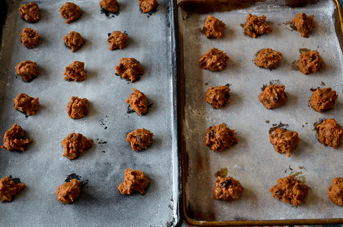 Placing carrot cake balls onto cookie sheets