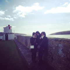 All three D'Affronte sisters with some epic scenery in the background. On top of Fort Charles in Kinsale