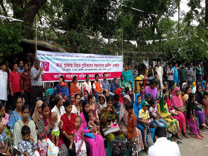 Rana Plaza victim's orphans children are seen staging  symbolic sit in strike in front of national press club marking 2nd anniversary of the tragedy. Program organized by National Garment workers Federation (NGWF)
