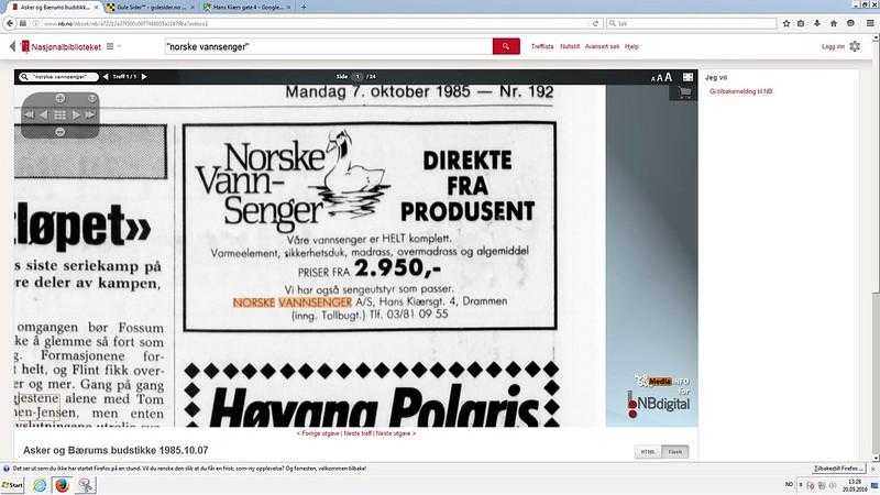 norske vannsenger 1985