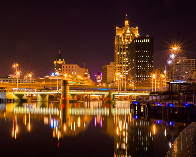 Night, Milwaukee, River, Lights, Reflection, Downtown