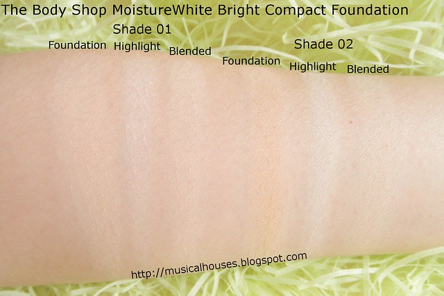 The Body Shop MoistureWhite Bright Compact Foundation SPF25 Swatches