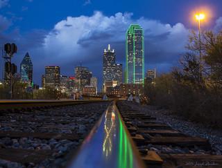 Dallas Stormy Train Track Reflection